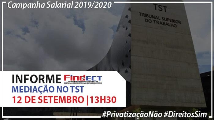 APÓS GRANDE MOBILIZAÇÃO DOS TRABALHADORES, FINDECT É CONVOCADA AMANHÃ, 12/09 PARA MEDIAÇÃO NO TST