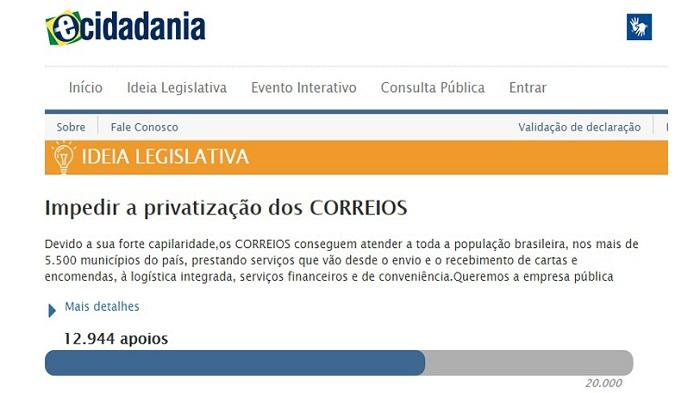 IDEIA LEGISLATIVA – DEBATER A INTENÇÃO DE PRIVATIZAÇÃO DOS CORREIOS