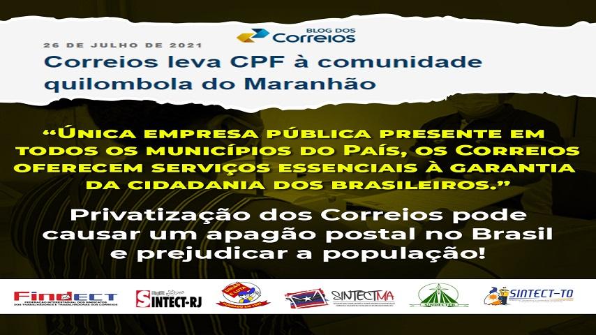 CORREIOS LEVA CPF À COMUNIDADE QUILOMBOLA NO MARANHÃO